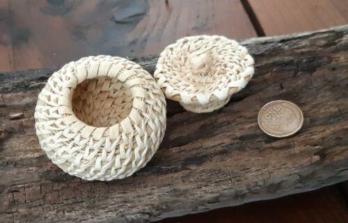 "Vintage Native American Miniature Basket w/ lid. Yucca cactus 2"" round  #20,25"