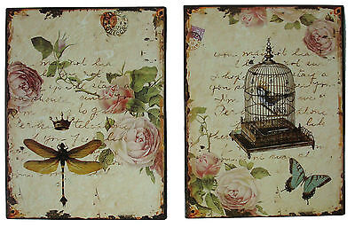 Shabby Chic Vintage Style - Birdcage + Dragonfly Picture Plaque - Set of 2 - NEW
