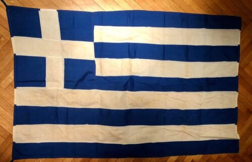 Vintage Greece Greek Cotton Flag 85x140cm, Very Old!