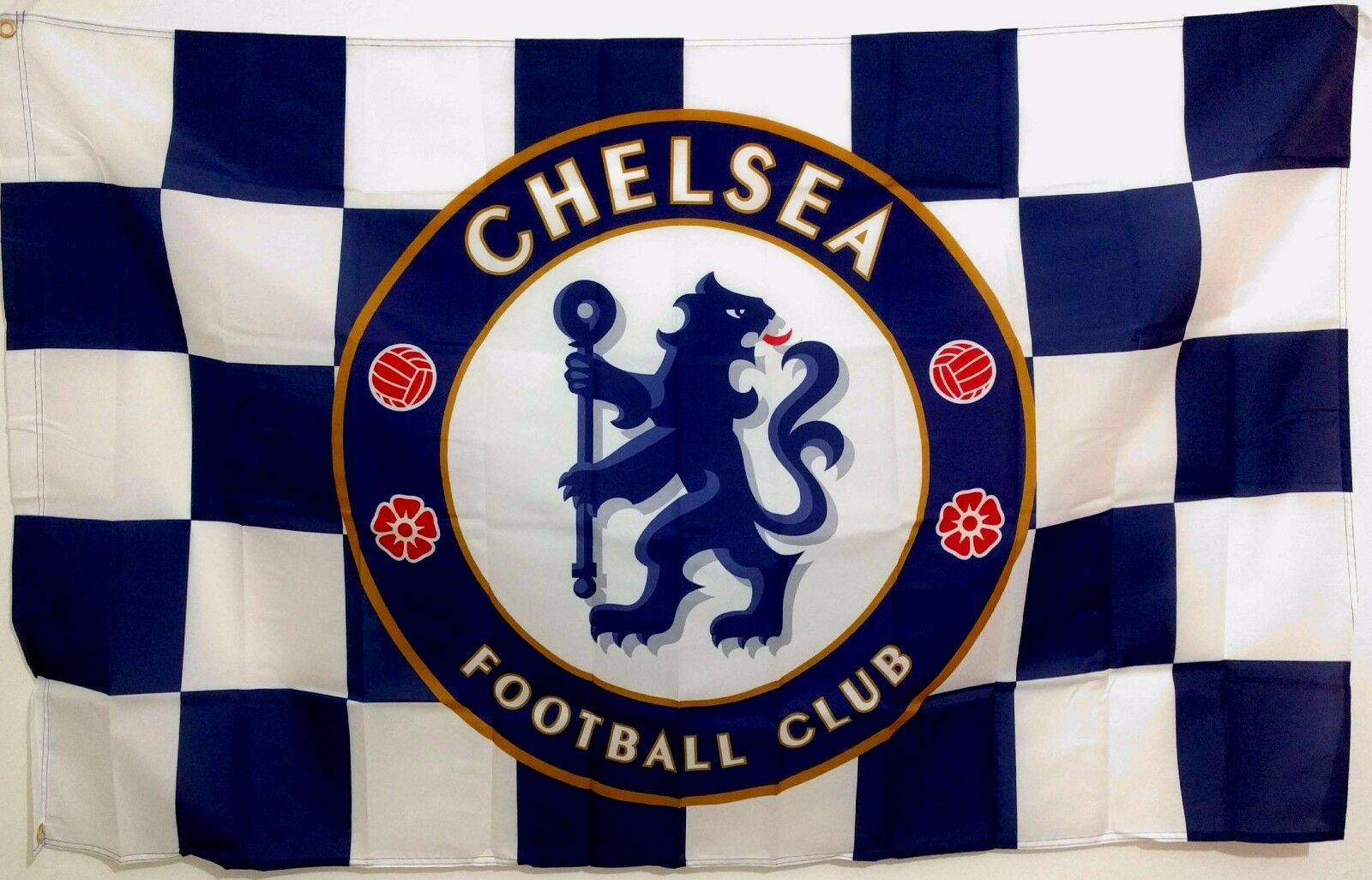 Details About Chelsea Fc Flag Banner 3ft X 5ft Football Soccer Blues Checkers Sticker As Gift