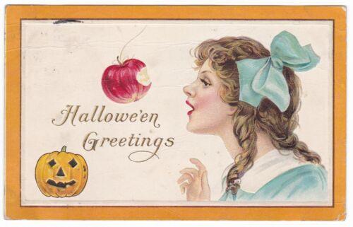 1910 HALLOWEEN GREETING GIRL APPLE JACK O LANTERN VINTAGE POSTCARD ORCHARD NE !!