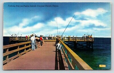 Fishing Pier on Padre Island Corpus Christi, Texas Chrome Postcard (Padre Island Corpus Christi)