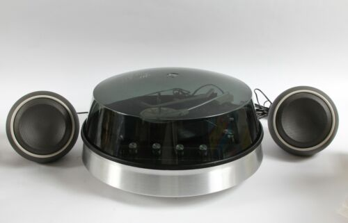 MCM  SPACE AGE 1970 W T GRANT  -  ROUND ALUMINUM TURNTABLE  BALL  FORM SPEAKERS