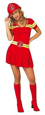 Damen Sexy Rot Feuerwehrmann Feuerwehrmann Firewoman Kostüm Kleid Outfit 14-18 (Feuerwehrmann Kostüme Damen)
