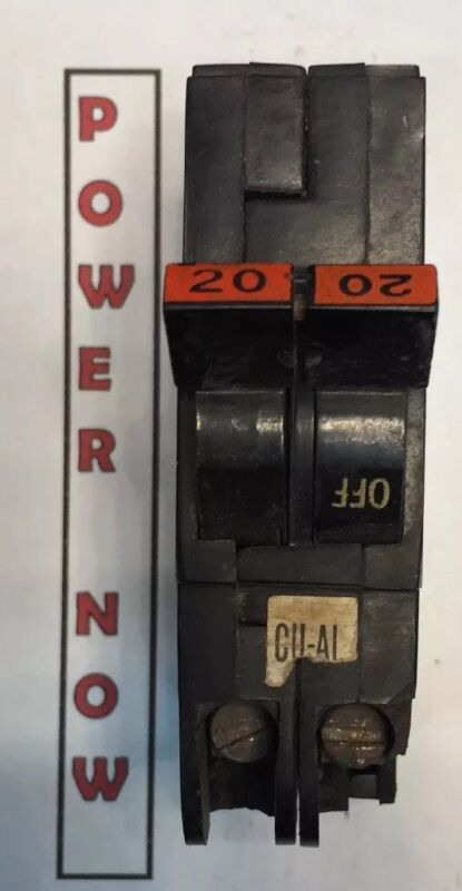 Federal Pacific FPE Stab-Lok Breaker 2 Pole 20 Amp 240V Thin - tiny chip