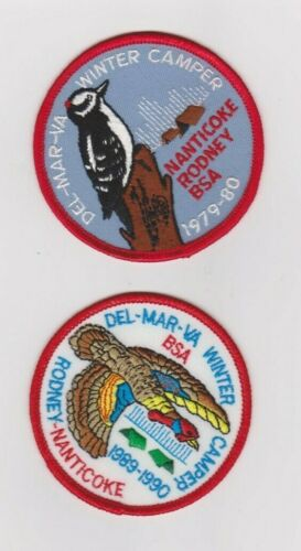 Del-Mar-Va Council 2 winter camper patches 1970s & 80s limited quantities/years