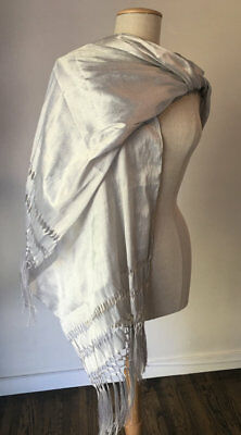 Infant Metal Baby Carrier - Mexican Rebozo Seda Silver Grey Plata Silk Texture  Shawl Wrap Baby Carrier