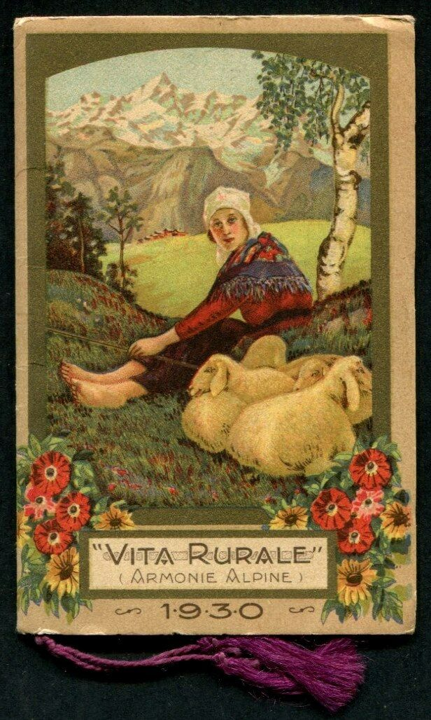 CALENDARIETTO GIOCONDAL 1930 VITA RURALE (ARMONIE ALPINE) - OTTIMO old calendar