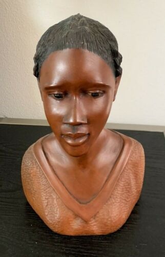 Beautiful Vintage Wood Carved Haitian Woman Bust Statue signed J. Desormeay 1979