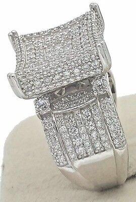DESIGNER FEMALE WOMEN'S Genuine Solid 925 STERLING SILVER PAVE CZ CUBIC BIG RING