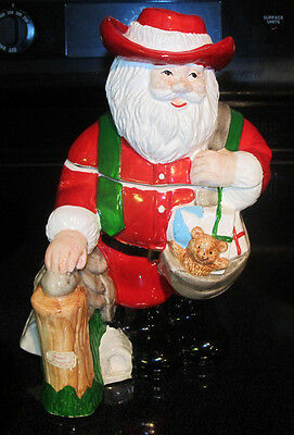 VINTAGE 1990 LOTUS SANTA CLAUS COLORFUL HAND PAINTED CERAMIC COOKIE JAR