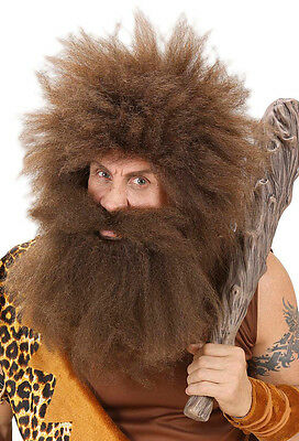 Steinzeit Bart und Schnurrbart braun NEU - Karneval Fasching Bart Verkleidung