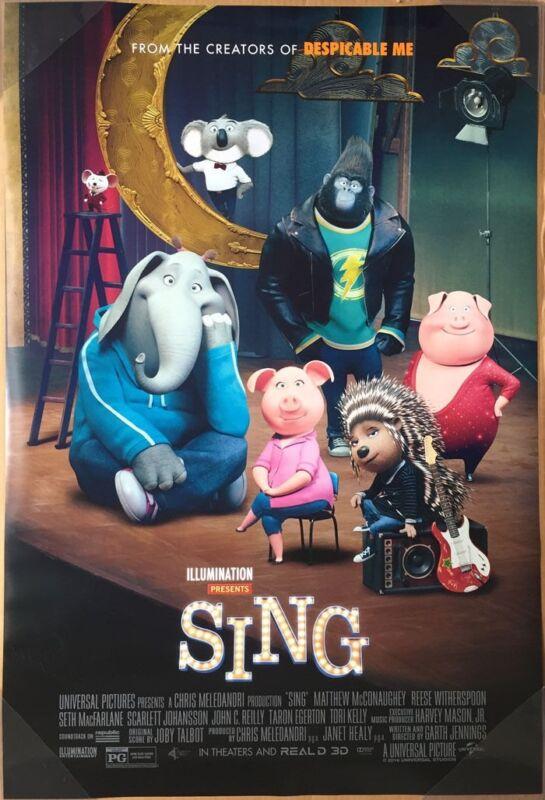 Sing Movie Poster Original Final 27x40 Scarlett Johansson Taron Egerton