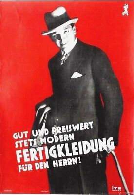 Original vintage poster FERTIGKLEIDUNG GERMAN MENS FASHION c.1930