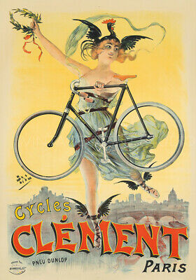 Bicycles Cycles Clément 1898 Bike Advertising Vintage Giclee Canvas Print 20x28