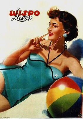 Original vintage poster WISPO SWIMSUIT GIRL & BEACHBALL c.1950