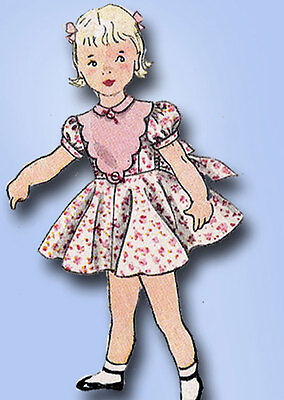 1950s Vintage Simplicity Sewing Pattern 3753 Toddler Girls Party Dress Size 2