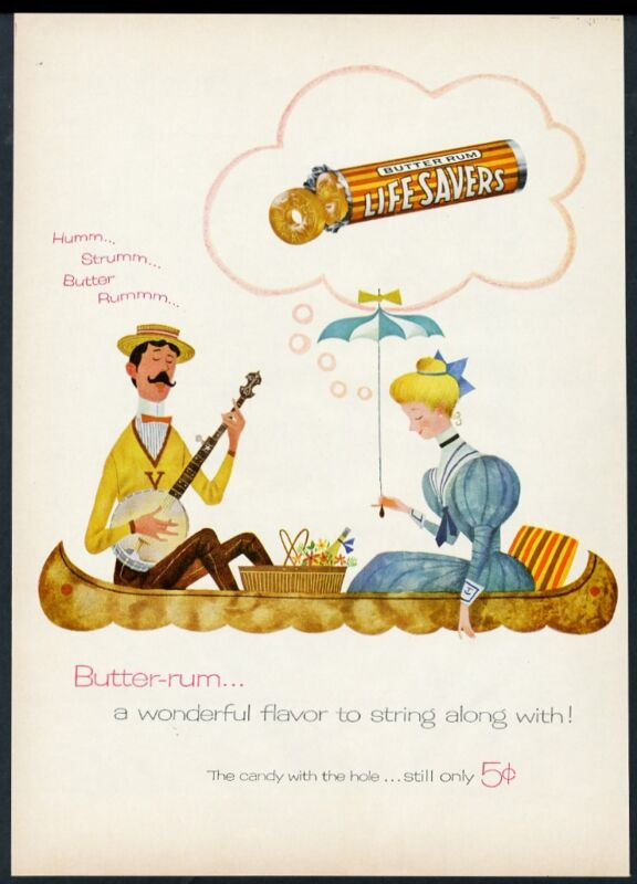 1955 Life Savers Butter Rum candy couple in canoe art vintage print ad