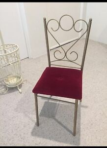 Cute vintage dressing table chair red velvet French iron gold decor Artarmon Willoughby Area Preview