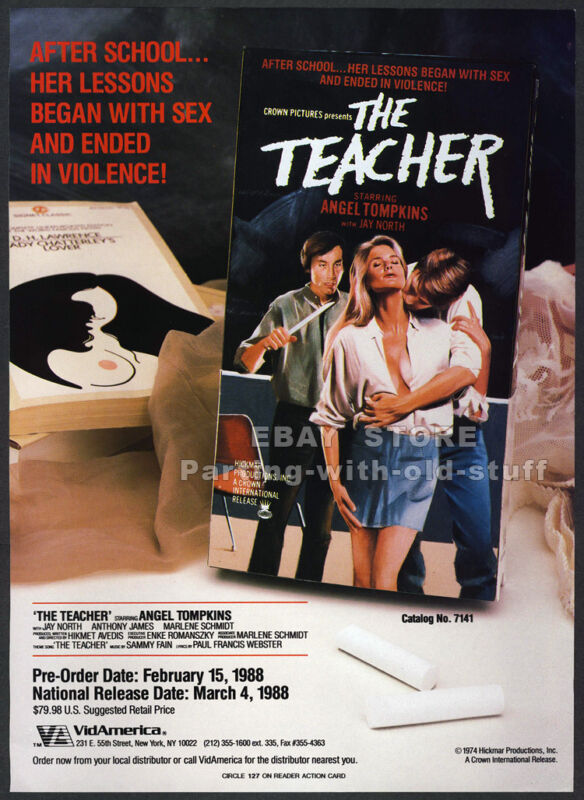 THE TEACHER__Orig. 1988 Trade print AD promo__ANGEL TOMPKINS__ANTHONY JAMES_1974