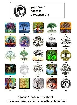 30 Personalized Return Address Labels Tree Of Life Buy 3 Get 1 Free To2