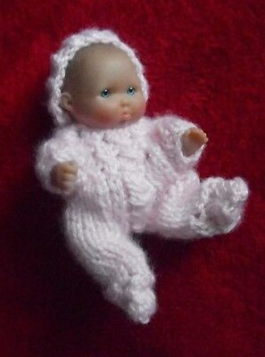 "Doll Clothes Pink Hand Knitted Sleeper set footed for Berenguer Baby 5"" ooak 6"""