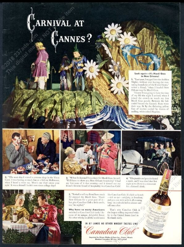 1942 New Orleans Mardi Gras parade photo Canadian Club whisky vintage print ad