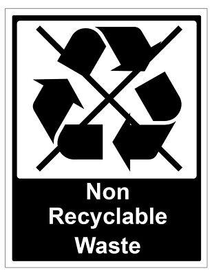 2 X Nicht Recyclebares Müll Selbstklebende Sticker Sicherheit Zeichen Business ()