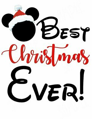 ::::::::::::::DISNEY MICKEY MOUSE BEST CHRISTMAS EVER:::T-SHIRT IRON ON