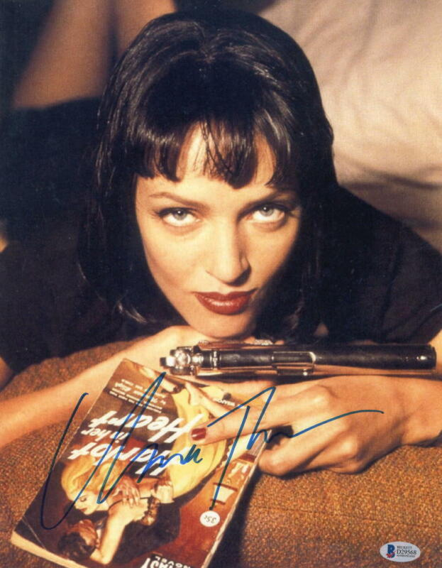 UMA THURMAN SIGNED 11X14 PHOTO PULP FICTION AUTHENTIC AUTOGRAPH BECKETT COA A
