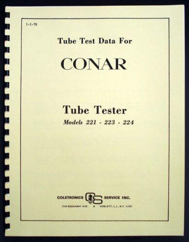 Conar Model 221 223 224 Tube Test Data Book 1978 Version