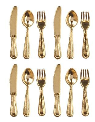 Dollhouse Miniature Gold Silverware, Cutlery or Flatware Set for 4