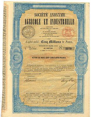 Belgien Soc. Anonyme Agricole et Industrielle Aktie  1857 Landwirtschaft