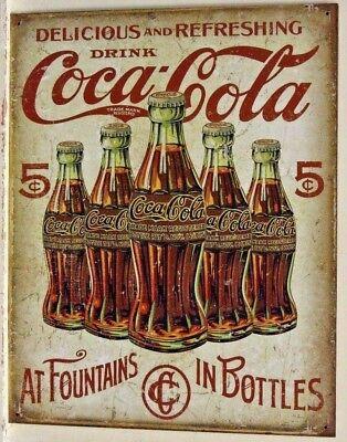 Coca Cola Coke Soda Retro Bottles Vtg Metal Tin Ad Sign Picture Wall Decor