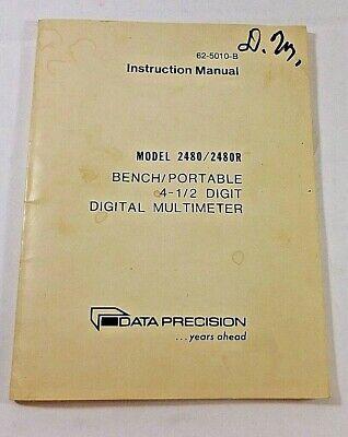 Data Precision 2480 2480r Bench Portable Digital Multimeter Manual 62-5010-b