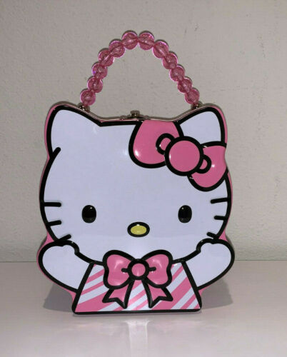 NEW HELLO KITTY SANRIO PINK WHITE HOLIDAY CANDY CANE BEAD CUTE TIN LUNCH BOX BAG