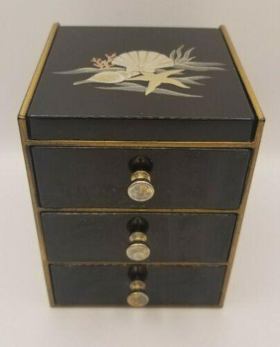 Vintage OTAGIRI Japan Black Lacquerware Jewelry Box - Gold & Silver Sea Shells