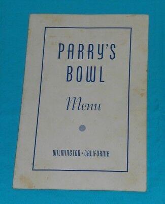 vintage PARRY'S BOWL MENU Wilmington California