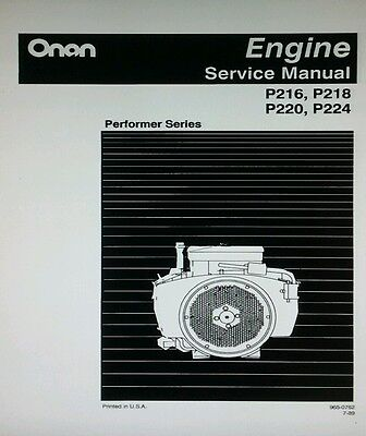 Onan Engine Performer P216 Operating Service Manual P220 P220