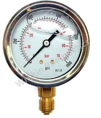 Pressure Gauge Glycerine 15-14500psi 1-1000bar 63mm Dial Bottom Connection