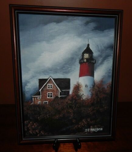 "Coastal Lighthouse, ""After The Storm"" Original Oil Painting,  By  J.D. Maxson."
