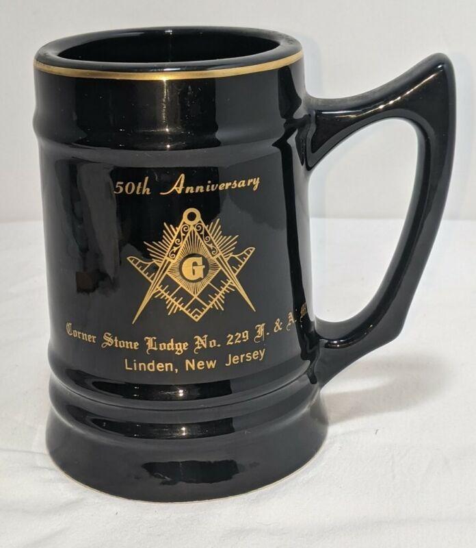Vintage Masonic Stein Mug 50th Anniversary Linden NJ 1972 Cornerstone Lodge #229