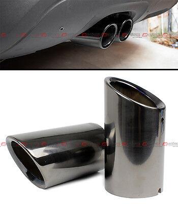 TITANIUM BLACK CHROME SLIP-ON STEEL MUFFLER EXHAUST TIP FINISHER FOR 08-15 VW CC
