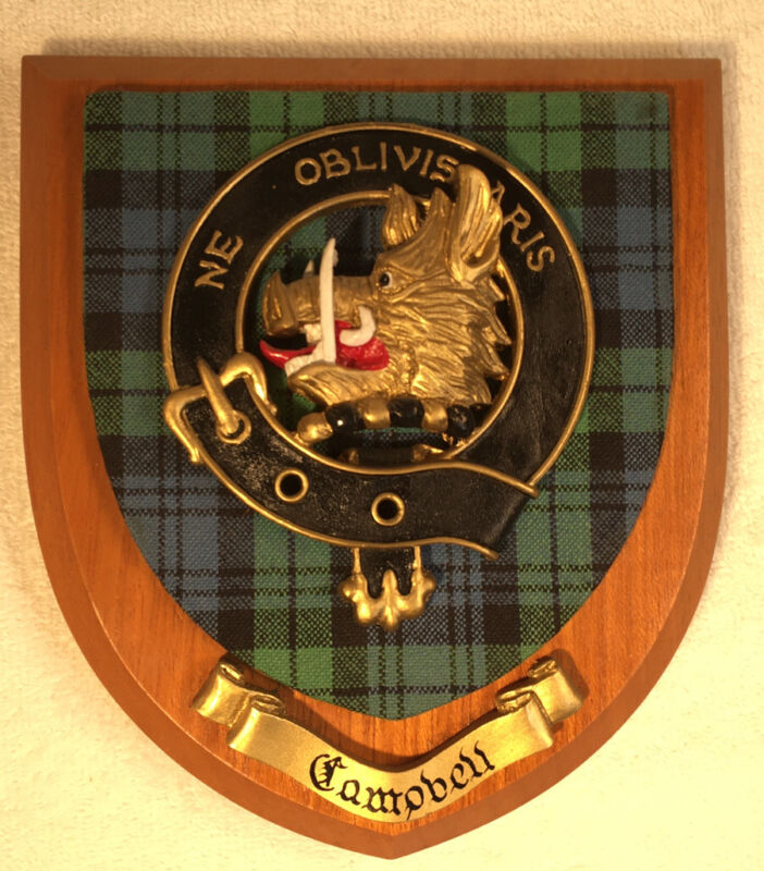 Scottish Clan Campbell Crest Wood Plaque Ne Obliviscaris Chief of Campbell