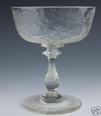 Finely Cut Flowers Glass Goblet Wafer Stem Cut Foot - Beautiful!