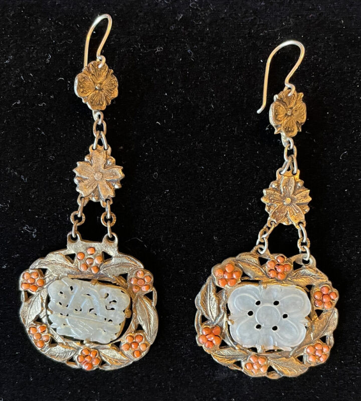 1930s Chinese Export Filagree White Jade & Coral Earrings