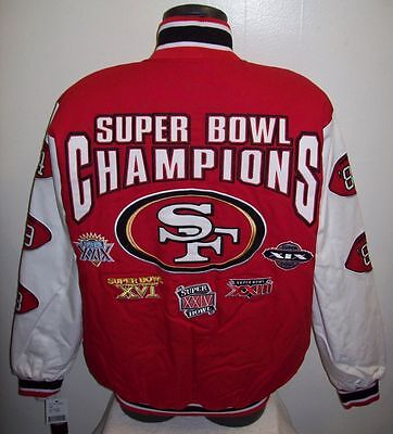 San Francisco 49Ers 5 Time Super Bowl Cotton Twill Jacket Sewn Logos Med  Lg  Xl