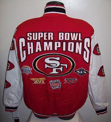 San Francisco 49Ers 5 Time Super Bowl Cotton Twill Jacket Sewn Logos M L Xl 2X