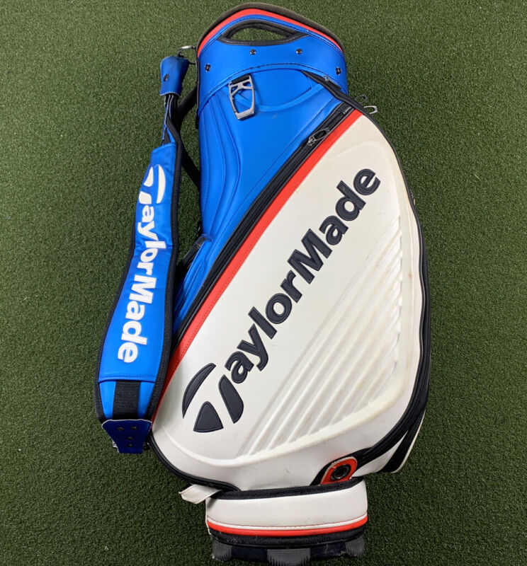 """TaylorMade 2018 Tour Staff Golf Bag 10"""" x 8"""" Top Blue White Red 6-Way Divide"""