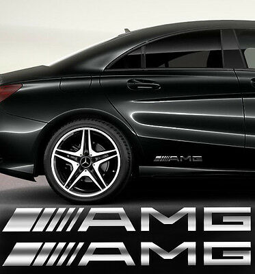 AMG Mercedes Auto Aufkleber Seitenaufkleber 2 Stk.SPIEGEL CHROMEFFEKT Folie